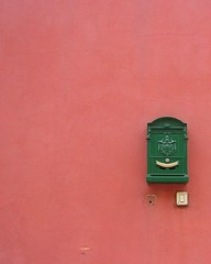anxiously waiting for your letter and still smiling. (loungerie) Tags: pink urban colour muro verde green wall mailbox colorful colours colore post mail box rosa crack lookatme verte cassetta posta fragment pinkgreen verderosa crepa topphotoblog themenegativespace tccomp059