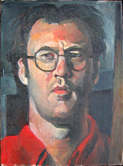 Self portrait in red shirt (dgray_xplane) Tags: art me schilder self painting artwork artist artgallery photos kunst paintings stlouis mo missouri artists painter saintlouis oilpaintings painters oilpainting artworks kunstenaar xplane davegray dgray dgrayxplane hetschilderen oliehetschilderen