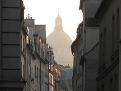 Pantheon Dome from Alley (gemini spy) Tags: street city travel urban sun paris france buildings alley rays panthron