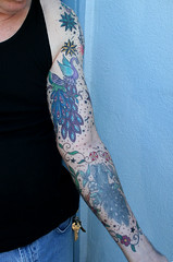 Left Arm Full Sleeve (Inner) (Tattoo Tom) Tags: bird birds tattoo ink peacock tattoos sanpedro sailorjerry fullsleeve bobshaw bertgrimm terrimorgan