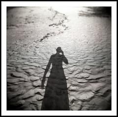 Shadow Self-Portrait (Brian Ray) Tags: ocean travel shadow vacation portrait blackandwhite bw selfportrait art 6x6 film beach mediumformat blackwhite holga spring sand break shadows sandy toycamera springbreak beaches bahamas thebahamas holgas hip2bsquare