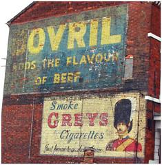Just honest to goodness (Dr Joolz) Tags: ads bedford paint palimpsest cigarettes greys adverts bovril ghostsigns gableend foodndrink addstheflavourofbeef boozefagsmatches ga00049