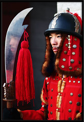 Korean guard reflected Seoul Kyeongbokgung South Korea (Derekwin) Tags: travel red reflection tourism asia traditional guard korea derek armor seoul sword southkorea winchester polearm kyungbokgung httpwwwflickrcomgroupstop20reflections colorphotoaward kyeongbokgung lpreflect derekwin derekwinchester