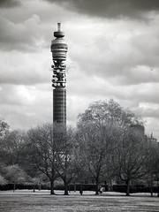 BT Tower in IR (Mark Philpott) Tags: pictures park red bw white black london tower digital ir photo sony infrared 707 infra bt regents drc f707 r72
