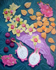 Still Life with Orchids and Dragon Fruit (Marit Cooper) Tags: flowers stilllife color colour art fruit painting dragon orchids cooper plums oilpainting dragonfruit marit maritcooper capegooseberries