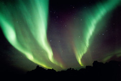Northern Lights and Hraun (tjerkb) Tags: film 35mm canon iceland aurora eos5 northernlights auroraborealis ijsland noorderlichten 24mmlens