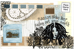 postcard for michael canada (robayre) Tags: art print lyrics key mail postcard postcrossing stamp silkscreen mailart imogenheap doily