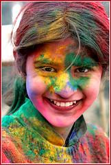 holi smile! (wanderinghome) Tags: portrait india colors girl smile amazing bravo colorful great 500v50f holi himalayas himachalpradesh theface interestingness72 i500 scoreme47 top20india elijahnouvelage