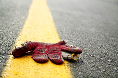 Lonely Glove (truenotes) Tags: red yellow canon 350d pavement maryland glove rebelxt asphalt silverspring digitalrebelxt theonegroup