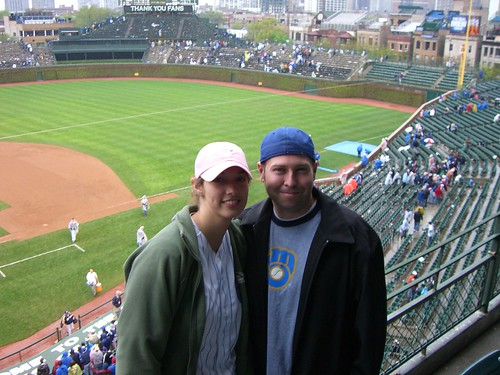 Spacebee and Whazzmaster at a Cubs/Brewers Game