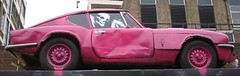 Purple car (Smeerch) Tags: auto park street uk greatbritain streetart streets london car skeleton skull graffiti strada purple unitedkingdom parking rosa demolition graffito londra strade coupe aerosolart granbretagna regnounito parcheggio demolizione bansky porpora scheletro parallelepipedo rosashocking