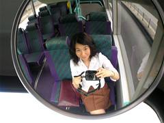 The only passenger (yewco) Tags: camera selfportrait bus me hongkong mirror passanger  yuko yewco