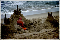 King of the Castle (thtstudios) Tags: santa orange castle sand king thought waves santamonica wash crushing monica meditation contentment contemplation perfomance thtstudios