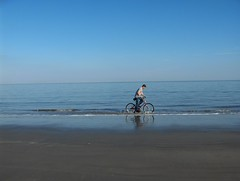 Bike The Beautiful Sea (Joe Shlabotnik) Tags: ocean blue beach 2004 bike bicycle bicycling peter biking jekyllisland myfave december2004 faved abstractarty explored justpeter heylookatthis