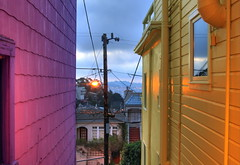 side entrance (patrix) Tags: street morning houses dawn view hdr between levant 3exp