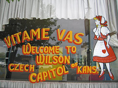 Vitame Vas (jschumacher) Tags: glass storefront kansas wilson windowpainting czechcapital vitamevas wilsonkansas