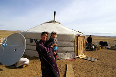 Yurt and satellite TV dish. By Fighting Tiger