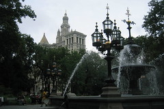 NYC: Nathan Hale City Hall Park (wallyg) Tags: park nyc newyorkcity ny newyork fountain nhl j downtown cityhall manhattan perspective landmark gaslamp georgian gothamist lamps federal civiccen