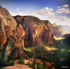 View off Angels Landing (etravus) Tags: park travel blue camping trees red vacation usa mountains green fall film beautiful clouds danger america forest wow river landscape ilovenature lights utah nationalpark holga interestingness haze bravo perfect rocks flickr tour shadows place hiking gutentag quality great large atmosphere tourist cliffs adventure virgin national pools valley massive maxwell excellent mostinteresting huge travis zion angelslanding scared distance med coolest dappled depth perish errosion hight 400nc flickrsbest specnature travisprice etravus stuckmenageriegroup3 outstandingshotshighlight ms5coin haiz potwkkc17 unbelievableimages