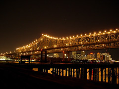 Crescent City Connection & New Orleans Skyline at Night (Viajante) Tags: bridge water skyline night louisiana neworleans mississippiriver cbd crescentcityconnection nikone4200