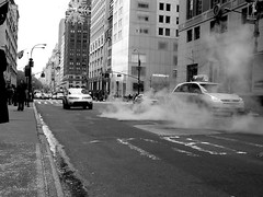 Smoke in NY (sgrazied) Tags: street nyc people urban bw ny cars traffic noiretblanc