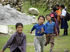 school kids running (Brian A Petersen) Tags: school nepal girls smiling laughing children fun brian running run bp pokhara petersen bpbp brianpetersen brianapetersen