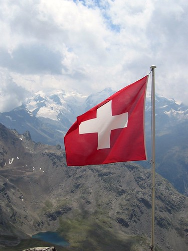 swiss flag at piz languard hut