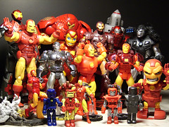 The Iron Legion (ElDave) Tags: macro toy toys actionfigure comic ironman marvellegends kubricks windup marvel heroclix 1on1 continuum warmachine ironlegion uswarmachine hulkbuster
