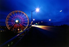 Rose Festival Fun Center, 900 seconds (Zeb Andrews) Tags: blue color night oregon mediumformat portland dusk cityscapes pinhole pacificnorthwest ferriswheel pdx zeroimage carnivals zero69 interestingness69 i500 bluemooncamera zebandrews explore11june06 diamondclassphotographer zebandrewsphotography