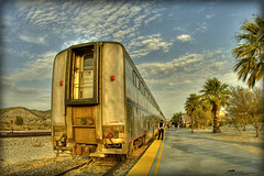 Eastbound Amtrak At Sundown (_Allen_) Tags: california railroad sunset train geotagged bravo palmsprings fisheye amtrak hdr garnet getilt0 gerange1000 geolat33898187 geolon116548526