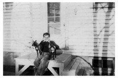 Tuffy, Bob Scully and Cheetah at East Franklin Street House in 1945 (Rick Scully) Tags: bw dog bostonterrier newjersey dad rex 1945 trenton tuffy bostonterriers scullyfamily bobscully vintagebostons