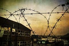 Barbed Wire, Belfast, Northern Ireland (Seven Seconds Before Sunrise) Tags: city travel clouds europe unitedkingdom belfast barbedwire northernireland antrim
