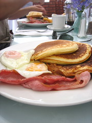 Pancakes, eggs and bacon