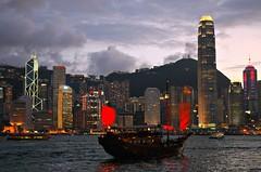 Sailing at dusk (Pat Rioux) Tags: china sailboat hongkong purple harbour dusk kowloon