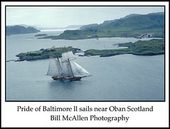 Topsail schooner Pride of Baltimore ll sails Oban Scotland by Bill McAllen (bill mcallen) Tags: uk 2 usa water island photography scotland bill nikon war sailing ship photographer sheep flag explorer  maryland pride baltimore explore ii pirate sail mcallen oban tall tallship schooner ll topsail goodwill clipper 1812 towson privateer shipwright prideofbaltimore asmp schooneradventuretallshipbaltimoreobanscotlandsail haylards