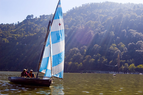 Sailboat on Nainital Lake by Peter Davis.