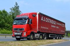Volvo FH 'A.J. Ostridge (Transport) Ltd' reg YN57 LXB (erfmike51) Tags: lorry artic curtainside volvofh ajostridgehaulageltd