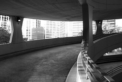 Exit ramp 03 (See.jay) Tags: park bw white black car architecture modern concrete modernism australia brisbane infrastructure qld curve carpark brutalism exitramp jamesbirrell australianmodernism