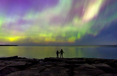 Sharing the Wonder (Boreal Bird) Tags: sky wonder priceless aurora sharing lakesuperior northernlights auroraborealis stoneypoint maryamerman