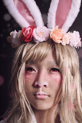 Rabbit (RBTVillains) Tags: pink flowers cute rabbit girl sparkles studio photography photo model pretty cosplay ears