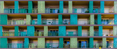 Rennes - Green balconies [Explored] (Hervé Marchand) Tags: windows building green facade balcony bretagne vert repetition balcon rennes immeuble urbain fenetres