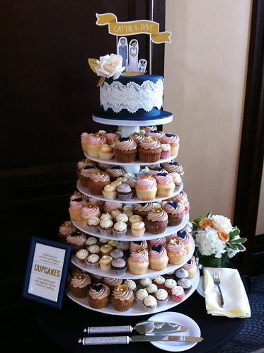 Wedding Cake and cupcake tower