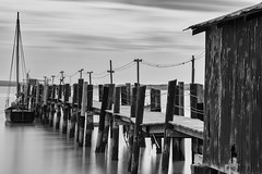 Junk Port (eCHstigma) Tags: california old longexposure seascape beach monochrome architecture landscape pier boat dock nikon village outdoor chinese bayarea sfbayarea sanrafael bnw stateparks blackanwhite d600 80200mmf28 junkship