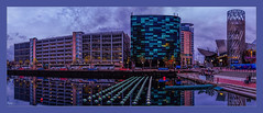 The Quays (Kevin, from Manchester) Tags: architecture bridgewatercanal building canon1100d canon1855mm england hdr kevinwalker manchester northwest outdoor photoborder salfordquays panorama