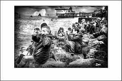 ON THE ROCKS2 (Derek Hyamson (5 Million views)) Tags: hdr candid seacombe mersey waterfront people three queens 175 th anniversary cunard liverpool photo border outdoor