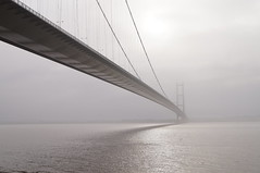 Humber Bridge - Yorkshire (My_adventure) Tags: sony sonya37 sonydslr sonydslt photography camera shooting longexposure cold winter january fog mist beach seascape landscape architecture bridge humberbridge suspension misty eery sea still calm countrypark