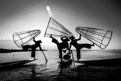 Inle Lake, Myanmar (ravalli1) Tags: myanmar inlelake blackandwhite burma dailylife lake water southeastasia nikon7100 vacations 2016 birmania boats fishing