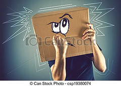 Man with cardboard box on his head and doodle drawing of angry face (JonathanSJ) Tags: angryman cardboardbox angry man cardboard box head fight expression portrait face adult anger aggressive rage furious male power negative mad bad insult violence expressive emotion stressed attitude doodle drawing feeling threat menace peril