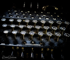 View Of A German World War 2 'Enigma' Machine (Peter Greenway) Tags: enigmamachine wheels bletchleypark wires decipher enigma plugs encryption plugboard historic keys ww2 worldwartwo cipher indicatorlights cogs blackwhite secret bw codebreakers keyboard decryption