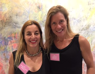 """Curators Ombretta Agro Andruff and Kathryn Mikesell at their opening of """"I Am Woman"""" exhibition of 21 women artists in Wynwood"""